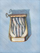 Print by Wayne Thiebaud, Sardines, 1982, available from Leslie Sacks Fine Art in Los Angeles