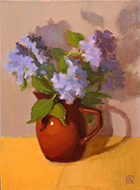 Artwork by Inna Lazarev, Blue Hydrangea in Brown Vase, available from Zatista.com